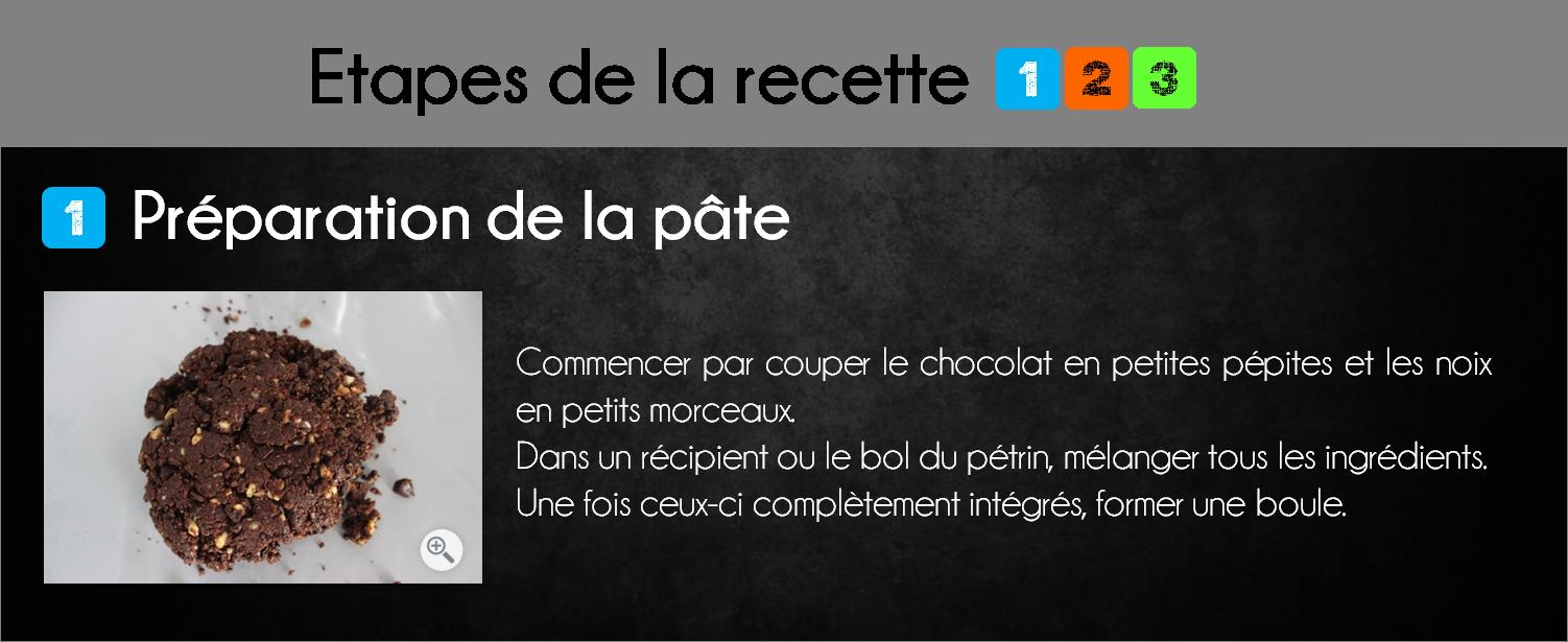 etapes biscuits chocolat noix