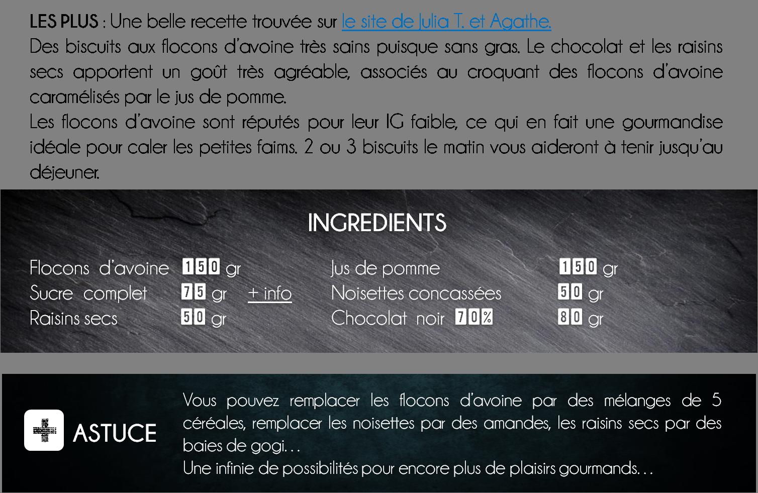 ingredients biscuit flocons d'avoine