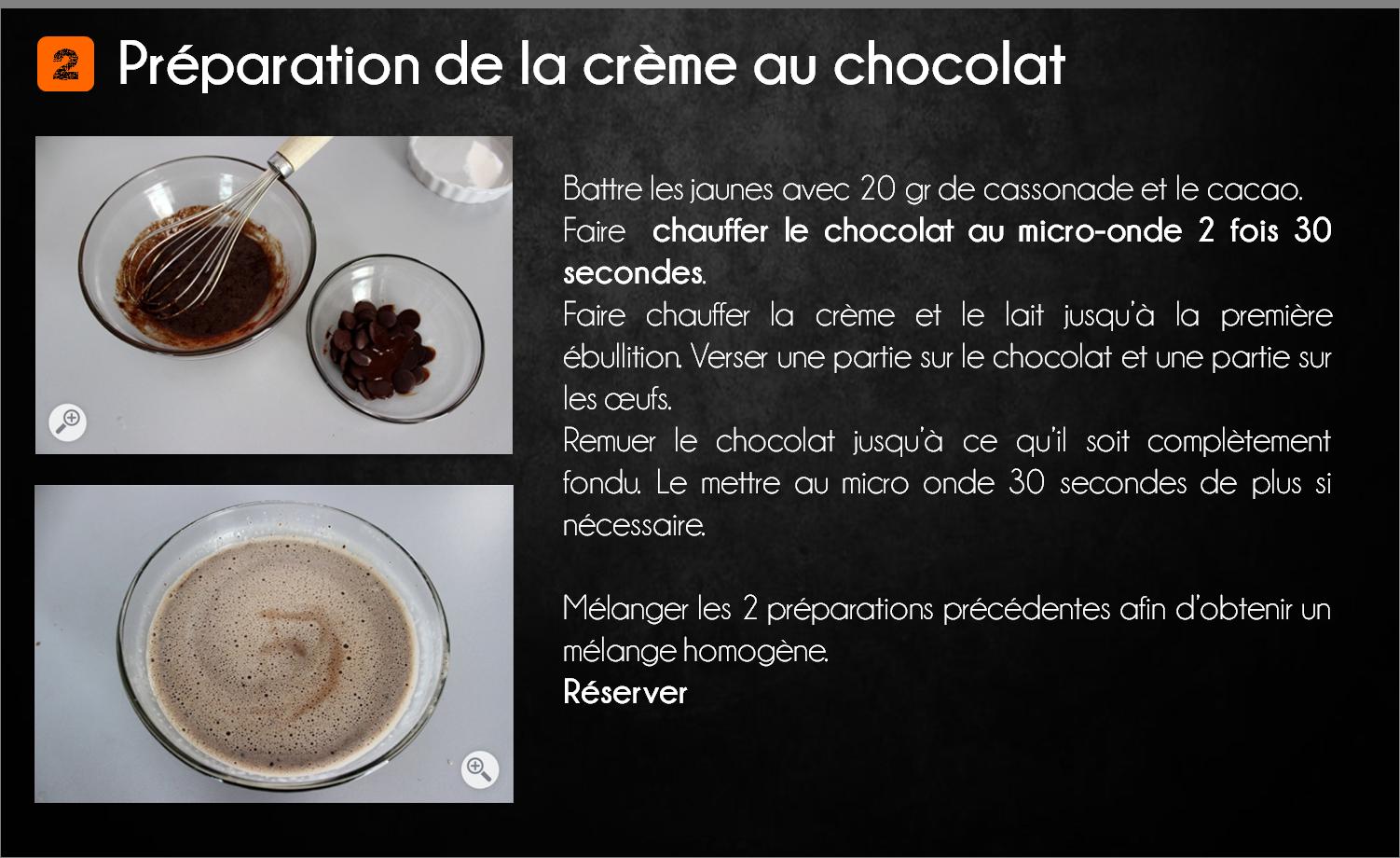 etapes crème brûlée chocolat poire