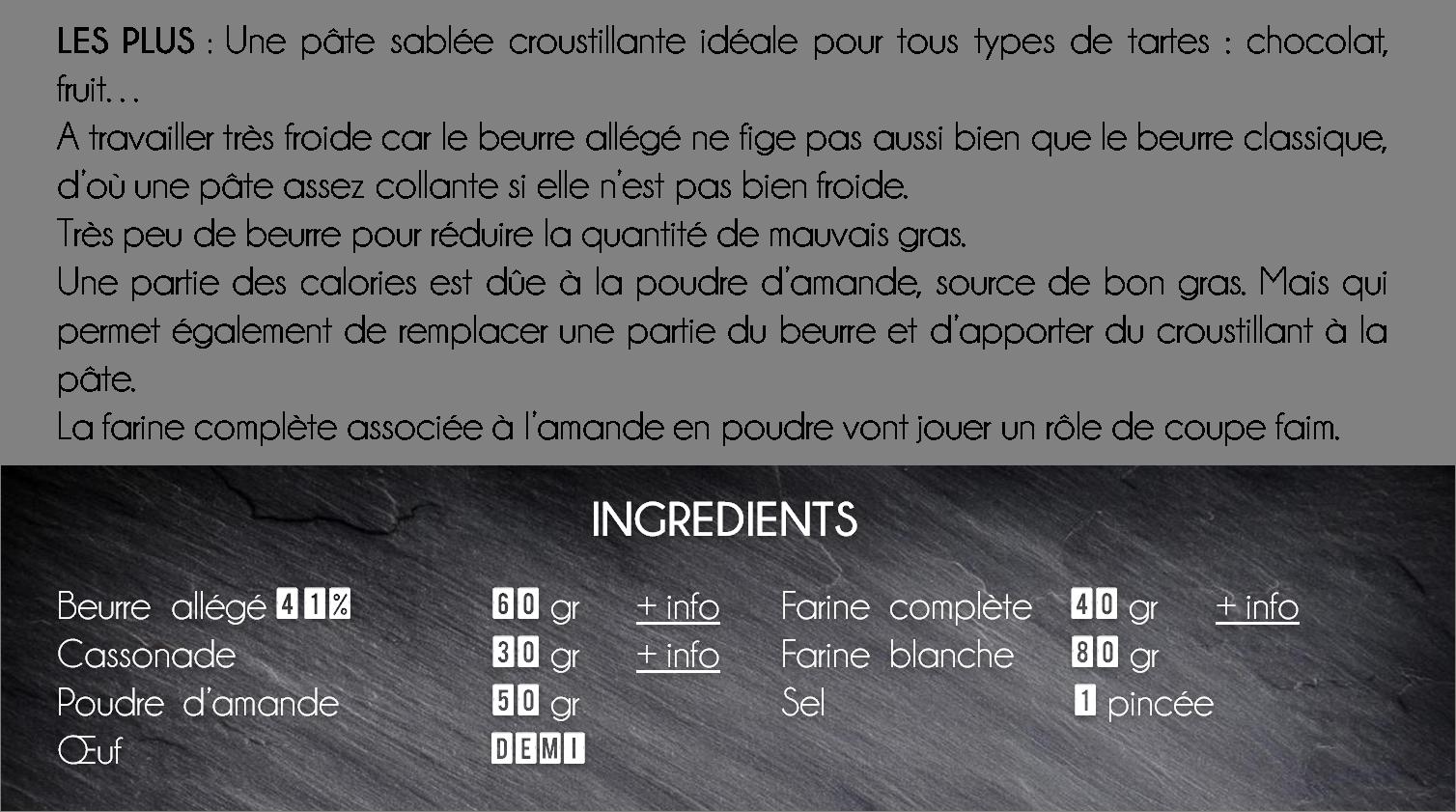 ingredients pate sablee amande