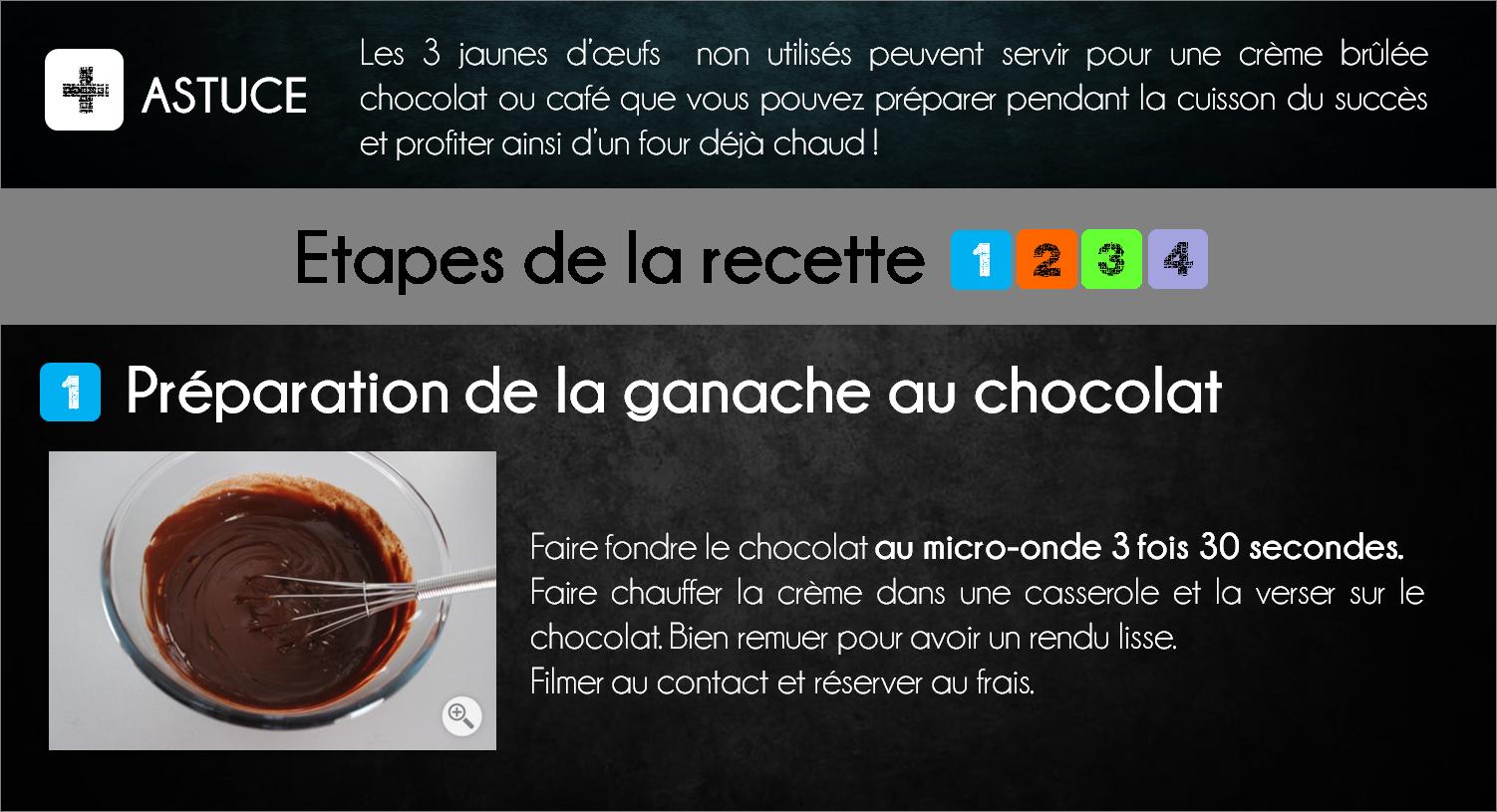etapes succes noisette chocolat