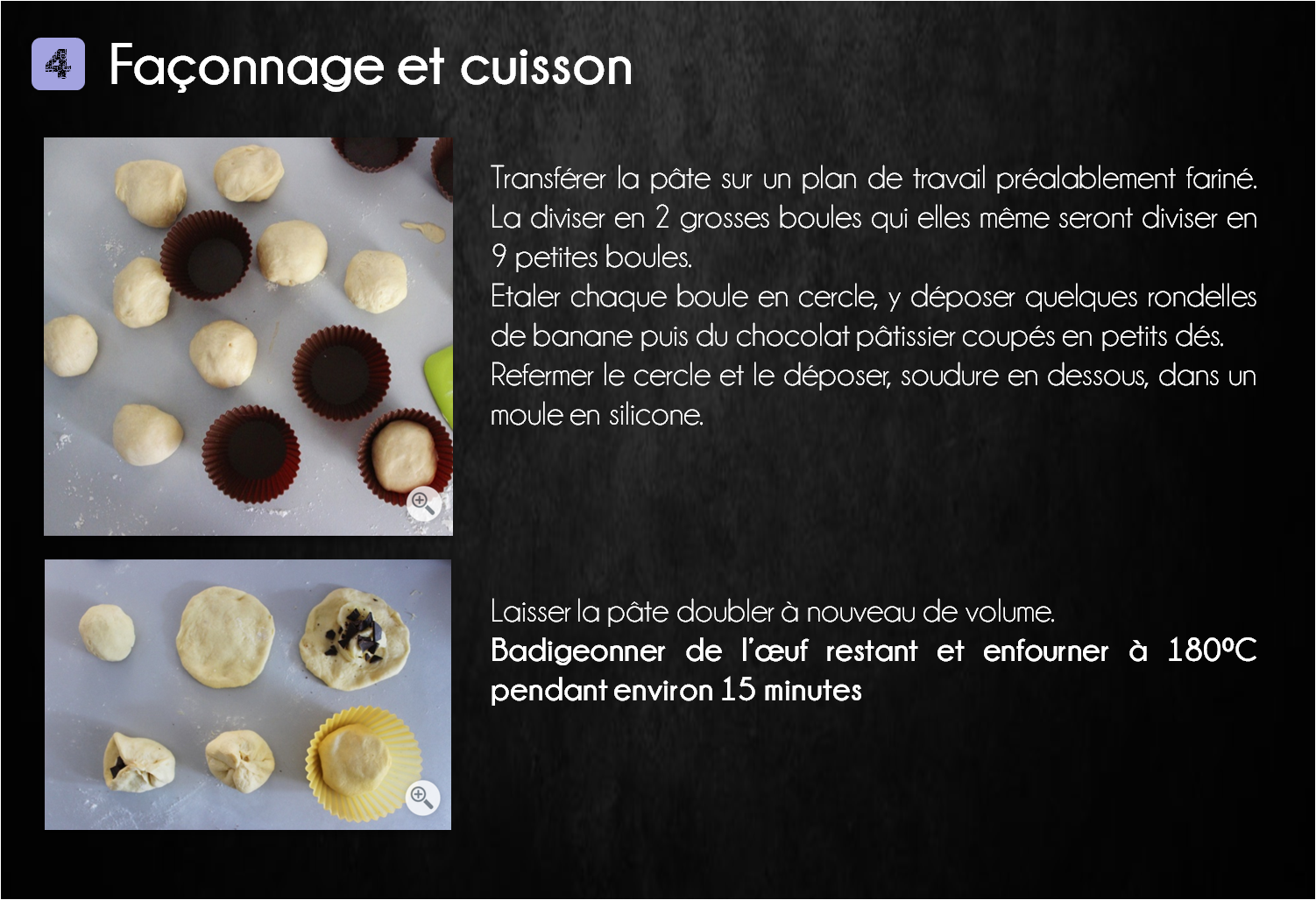 etapes brioche banane chocolat