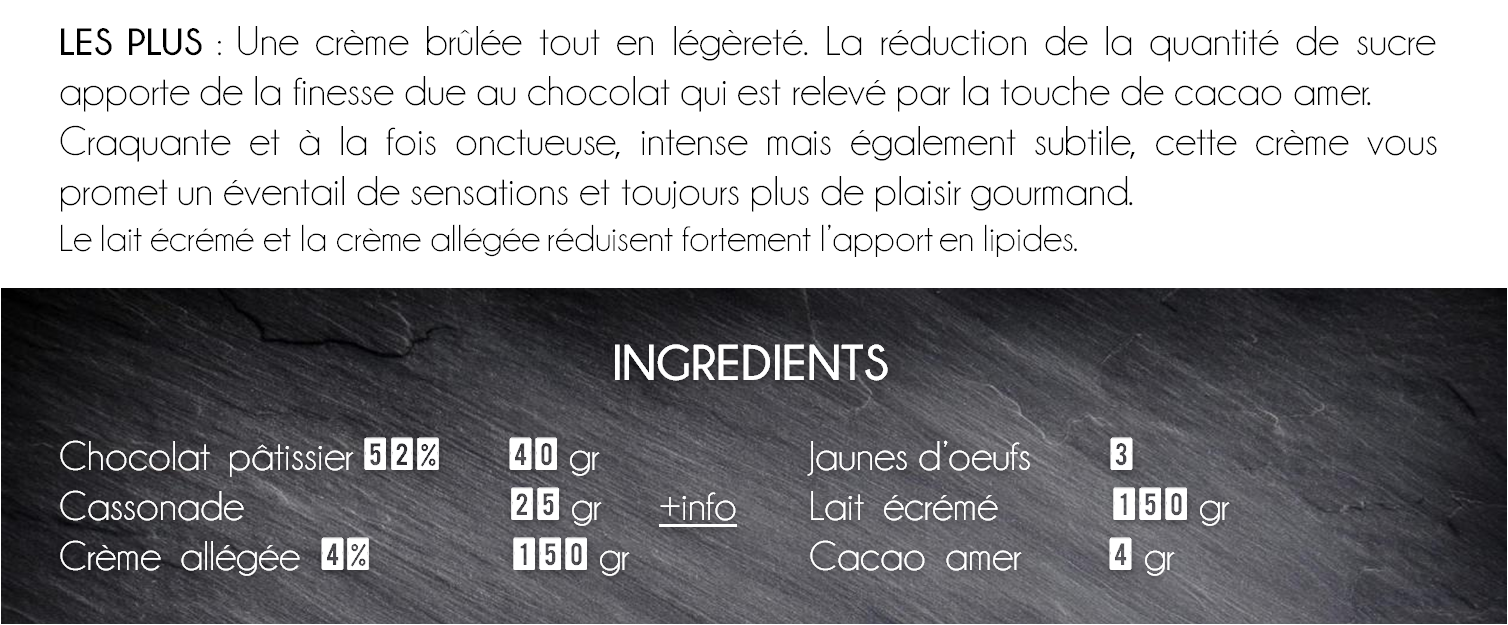 ingredients creme brulée chocolat