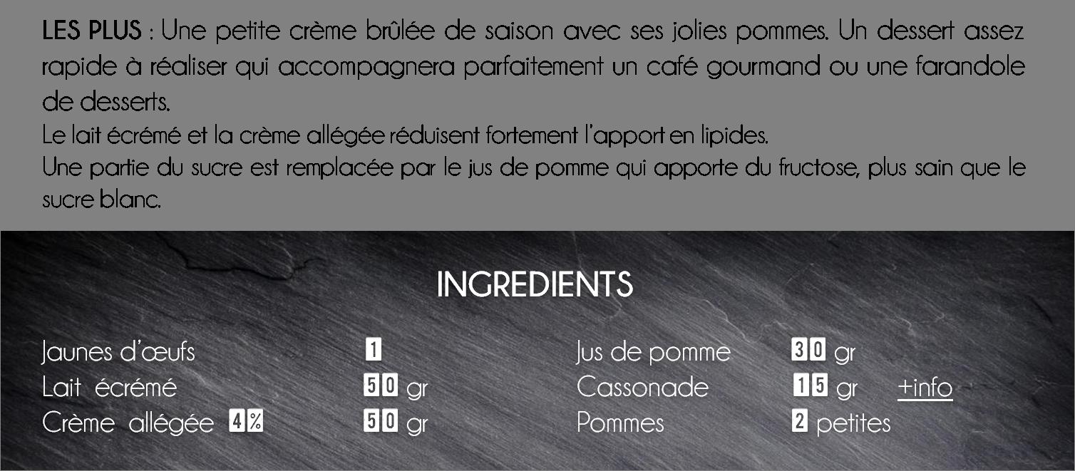 ingredients crème brulée pommes