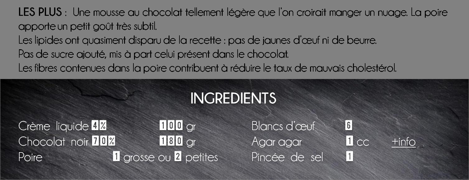 ingredient mousse chocolat poire