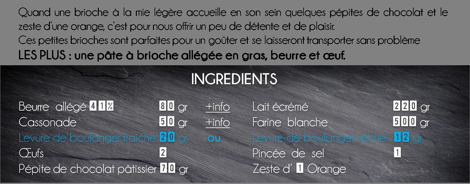 ingredients briochette orange chocolat