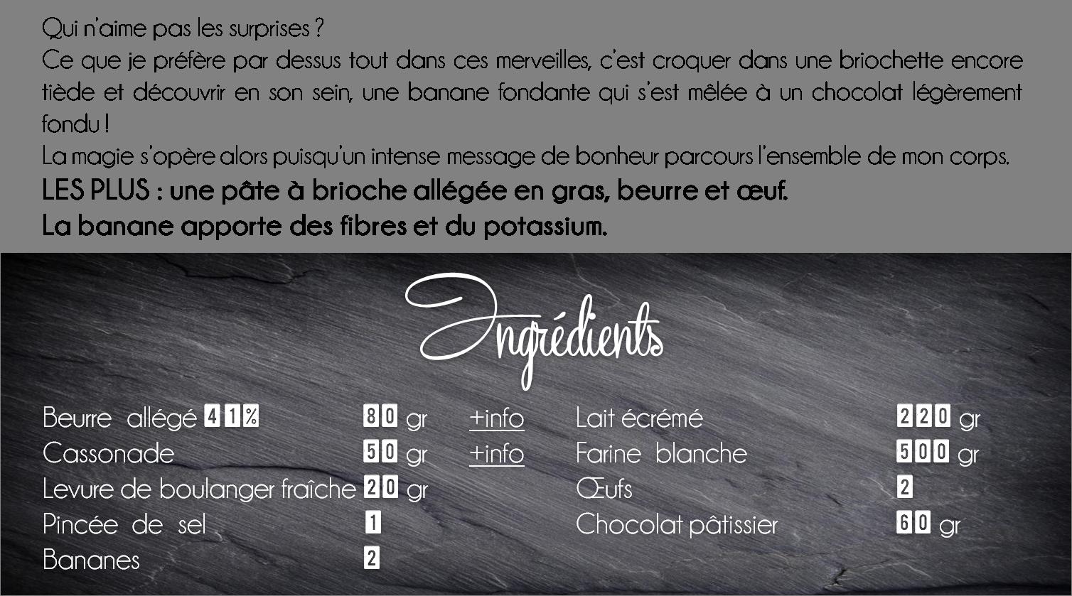 ingredients brioche banane chocolat