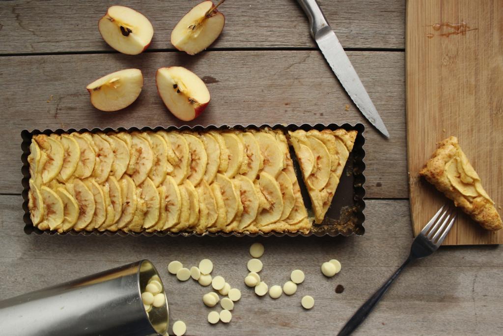 gâteau aux pommes et au chocolat blanc sans beurre