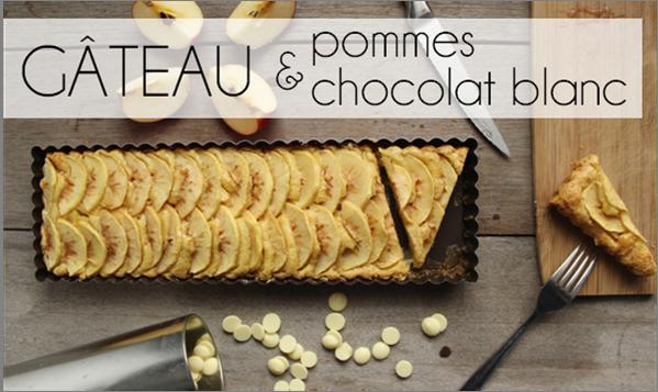 Gâteau pomme / chocolat blanc sans beurre (-38% de calories)