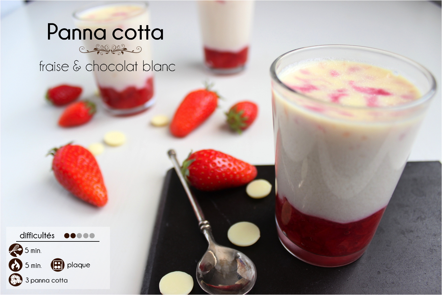la ligne gourmande recette de la panna cotta la fraise et au chocolat blanc. Black Bedroom Furniture Sets. Home Design Ideas