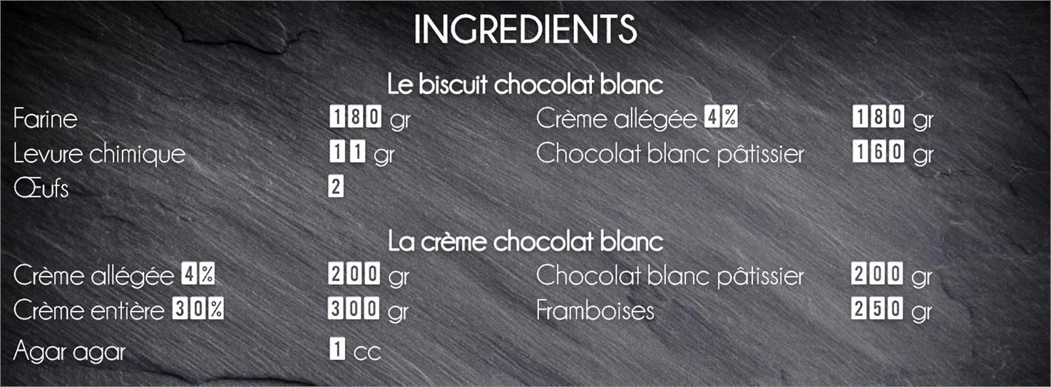 ingrédients layer cake framboise chocolat
