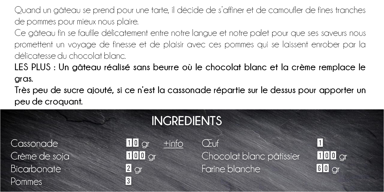 ingredients gateau pomme chocolat blanc