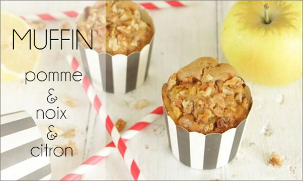 Muffin pomme, noix et citron.