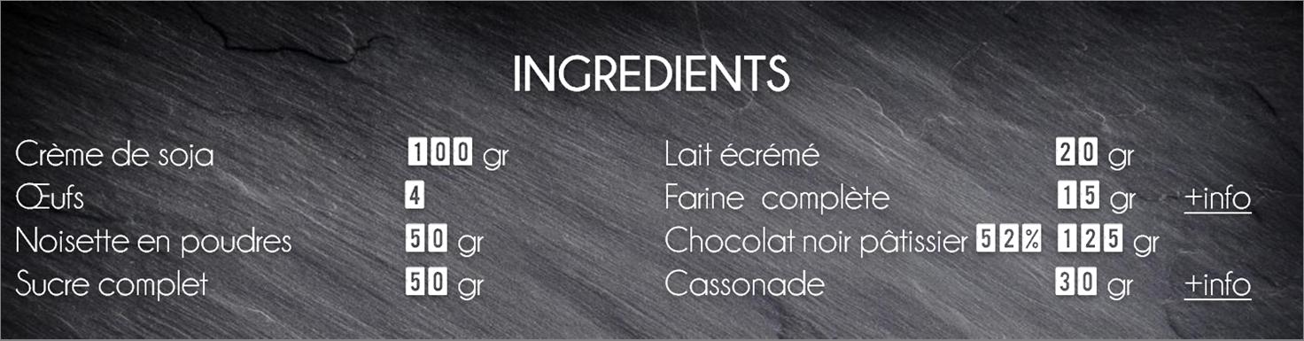 ingrédients moelleux chocolat