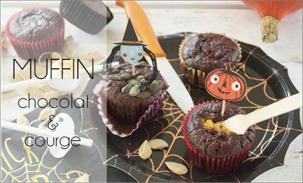 Muffin chocolat & citrouille (sans beurre).