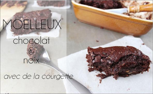 Moelleux chocolat / courgette / noix (-54% de calories)