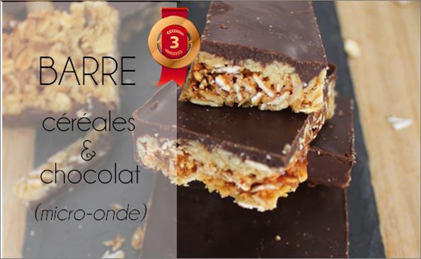 Barre céréales / chocolat au micro-onde (-30% de calories)