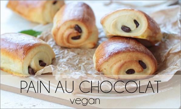 Pain au chocolat brioché vegan, sans oeuf, ni lactose.