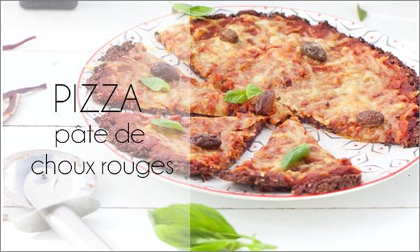 Pizza sur une pâte au chou rouge (sans gluten)
