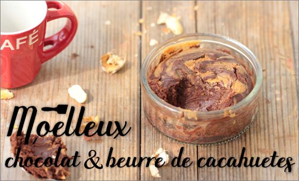 Moelleux chocolat & beurre de cacahuètes.