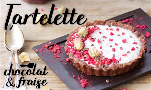 Tartelette chocolat & fraise (vegan).