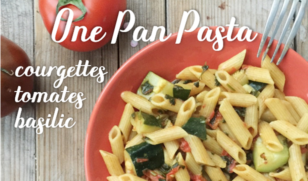 One pan pasta courgette, tomate & basilic