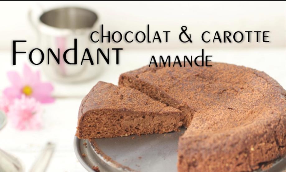 Fondant chocolat, carotte & amande (sans sucre ni matière grasse ajoutés).