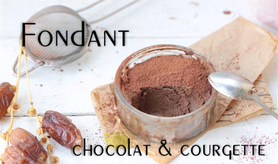 Fondant chocolat & courgette à la vapeur (sans sucre, gluten, beurre).