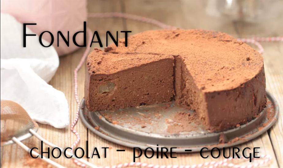 Fondant chocolat courge & poire (vegan et sans gluten).